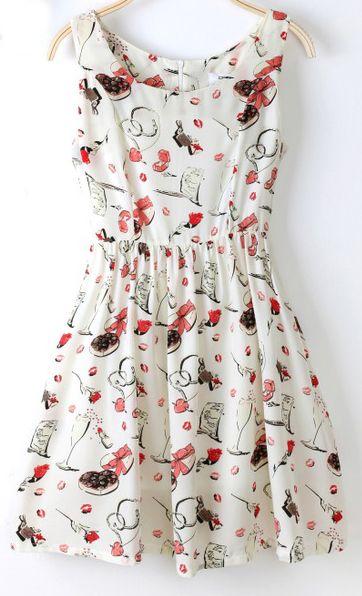 Beige Sleeveless Floral Print Flare Dress - Sheinside.com