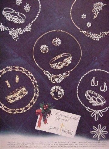Trifari Vintage Jewelry Ad, Twinkle Line, 1952