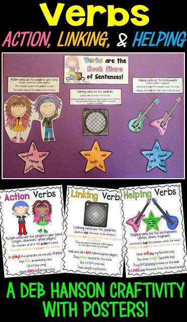Types Of Verbs Anchor Chart With A Freebie  Action Verbs