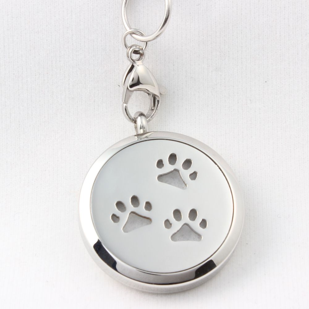 steel dog floating paw silver oil item locket stainless diffuser perfume print lockets lot necklace essential
