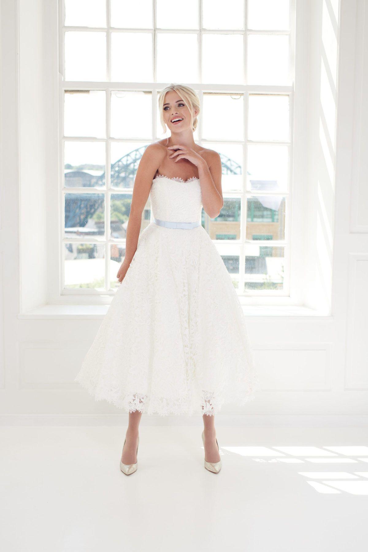 Beautifully Elegant Strapless Lace Ballerina Length Wedding Dress Eye Lash Lace Trim To The Bustline And Dresses Short Wedding Dress Tea Length Wedding Dress [ 1800 x 1200 Pixel ]