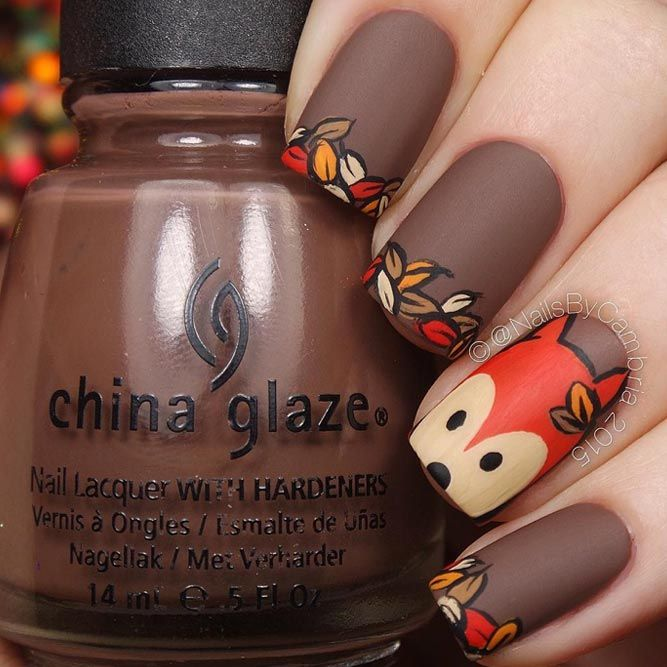 30 Cute Autumn Nail Designs You Ll Want To Try Fall Nail Art Designs Simple Nails Fox Nails