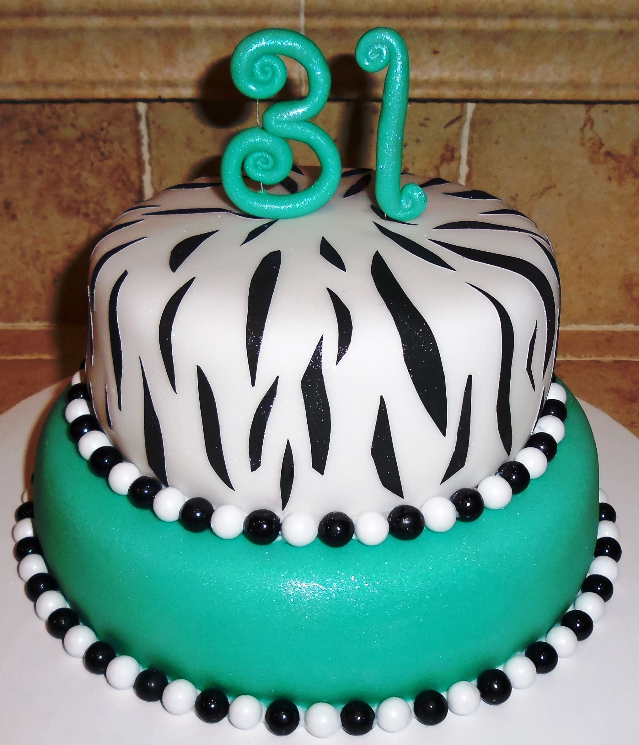 Two Tier 31st Birthday Zebra Cake