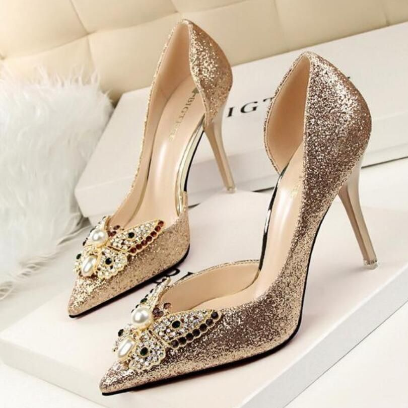 This Is Great For D H Elegance Gold Wedding Pumps Y High