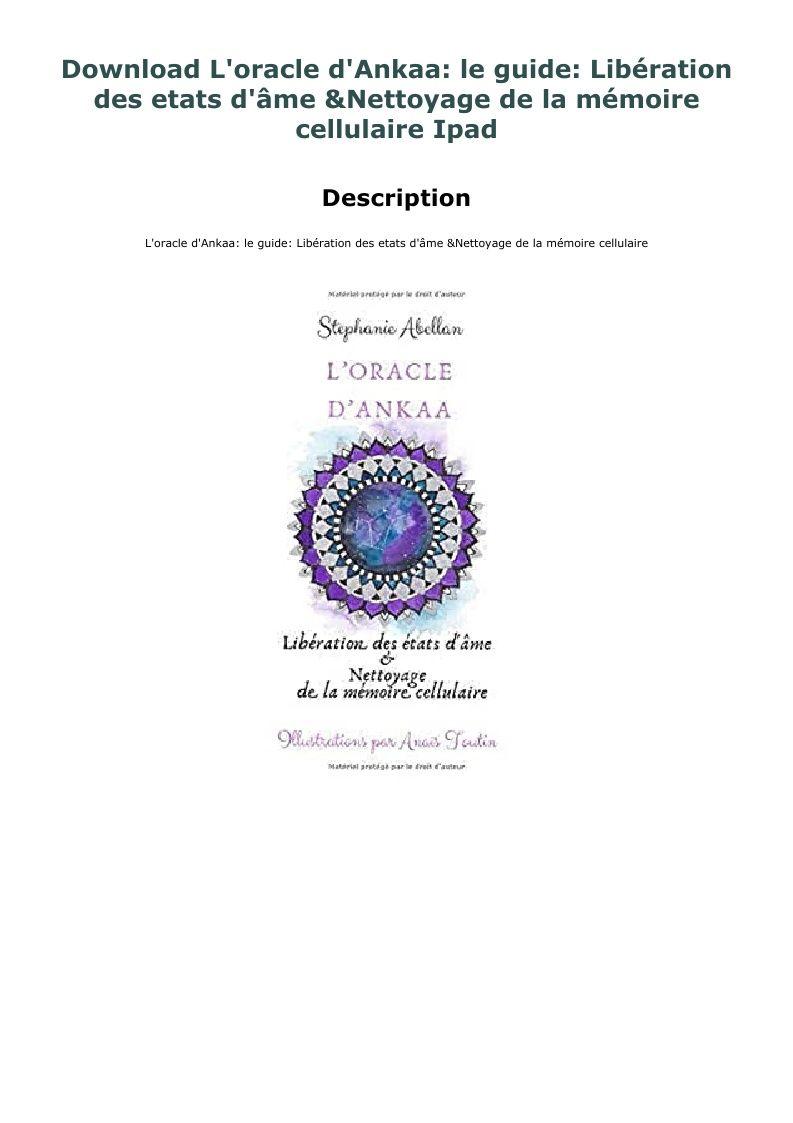 Download L Oracle D Ankaa Le Guide Liberation Des Etats D Ame