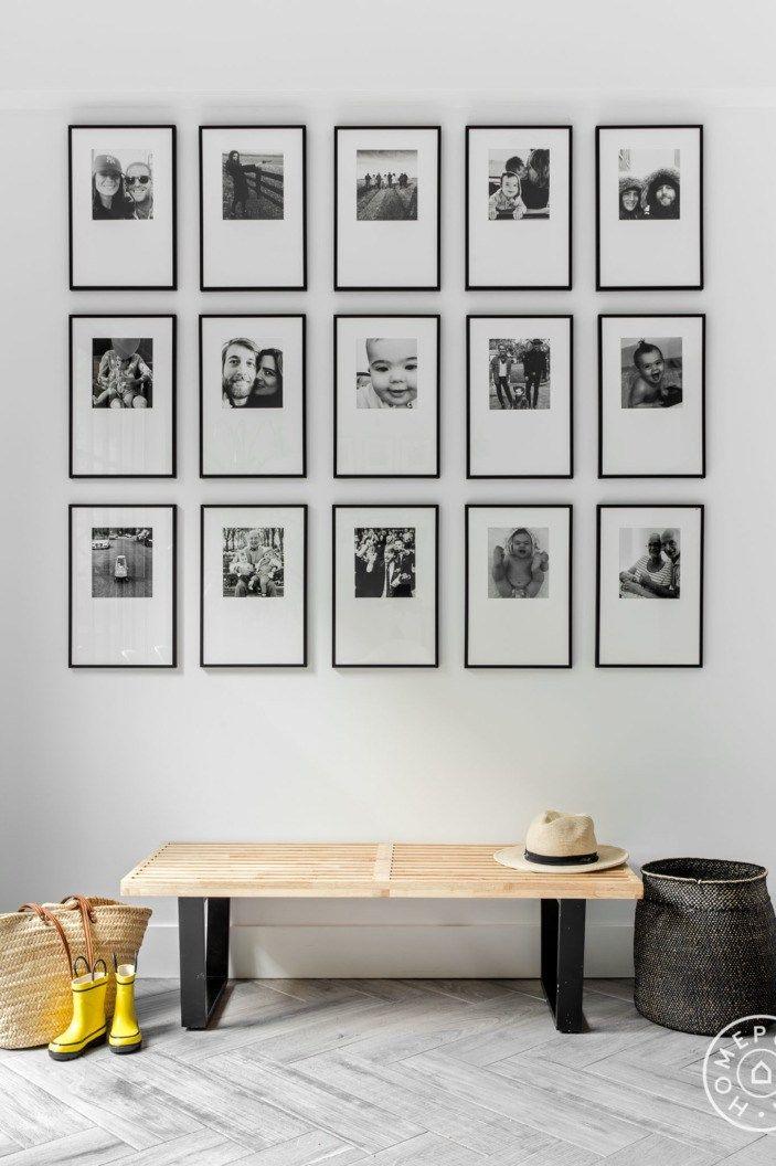 composición con fotos en blanco y negro enmarcadas,   Wall hangings ...