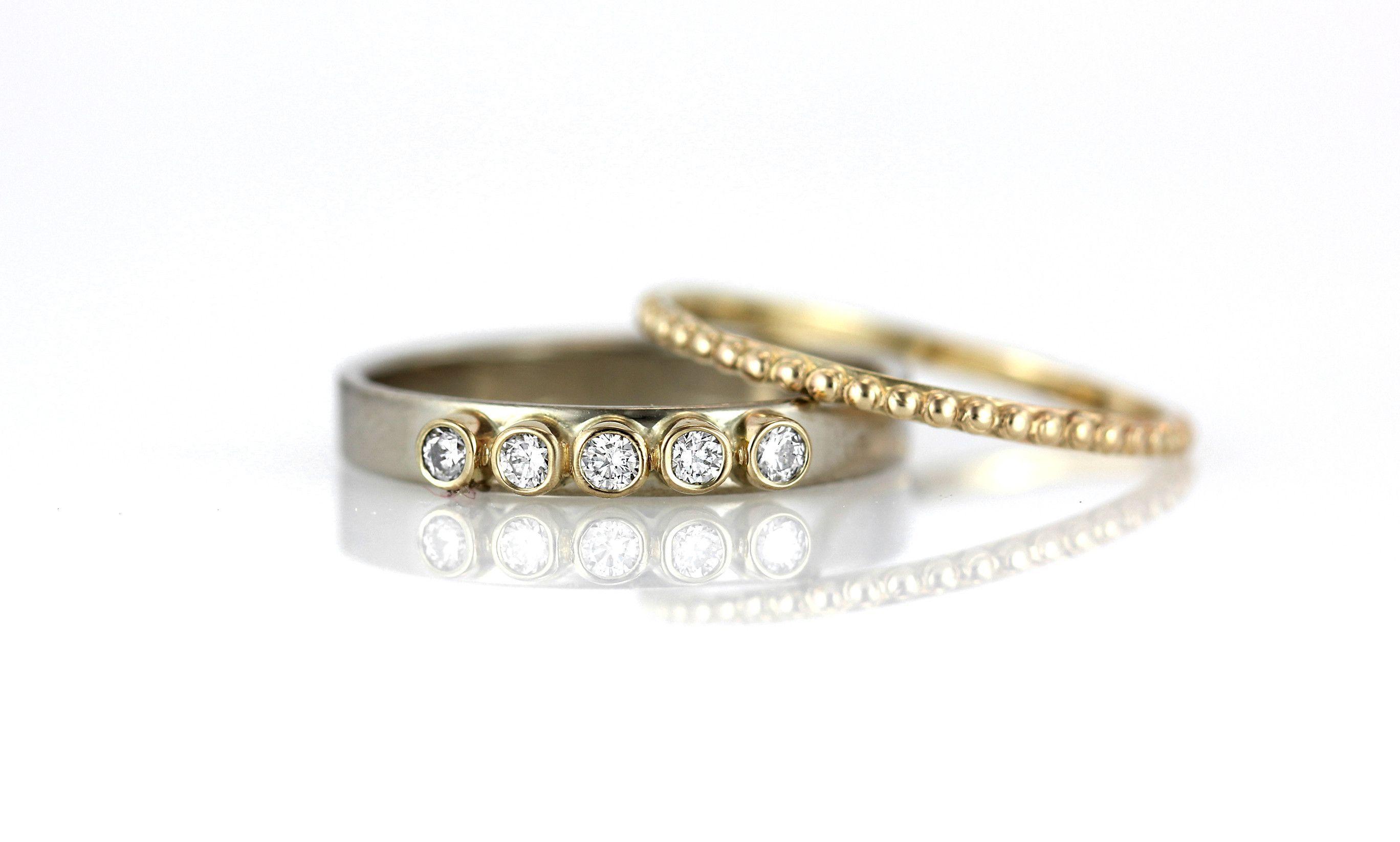 Two Tone Conflict Free Five Diamond Engagement Ring Pee Milgrain Wedding Band Set
