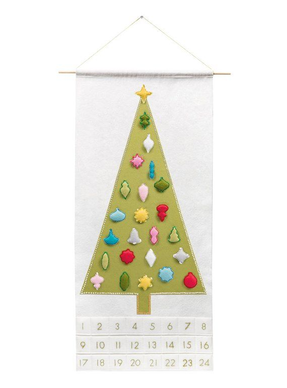 Christmas Tree Advent Calendar Pattern - Modern Countdown - 'Joyful and Triumphant with 24 Vintage Ornaments' DIY