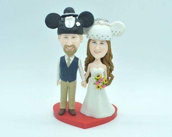 Custom Mickey Mouse wedding cake topper by CakeTopperArtStudio