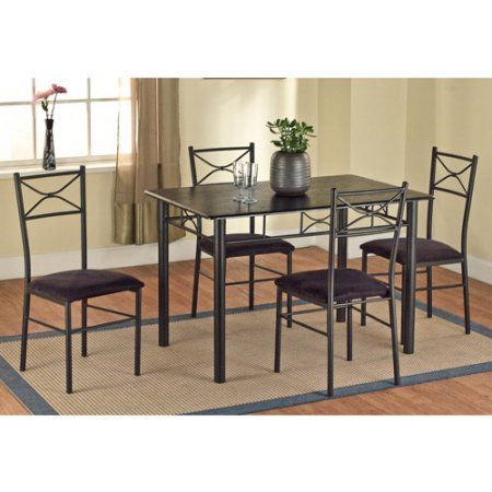 5 Piece Metal Dining Set Black Walmart Com Metal Dining Set Dining Room Sets Kitchen Table Settings