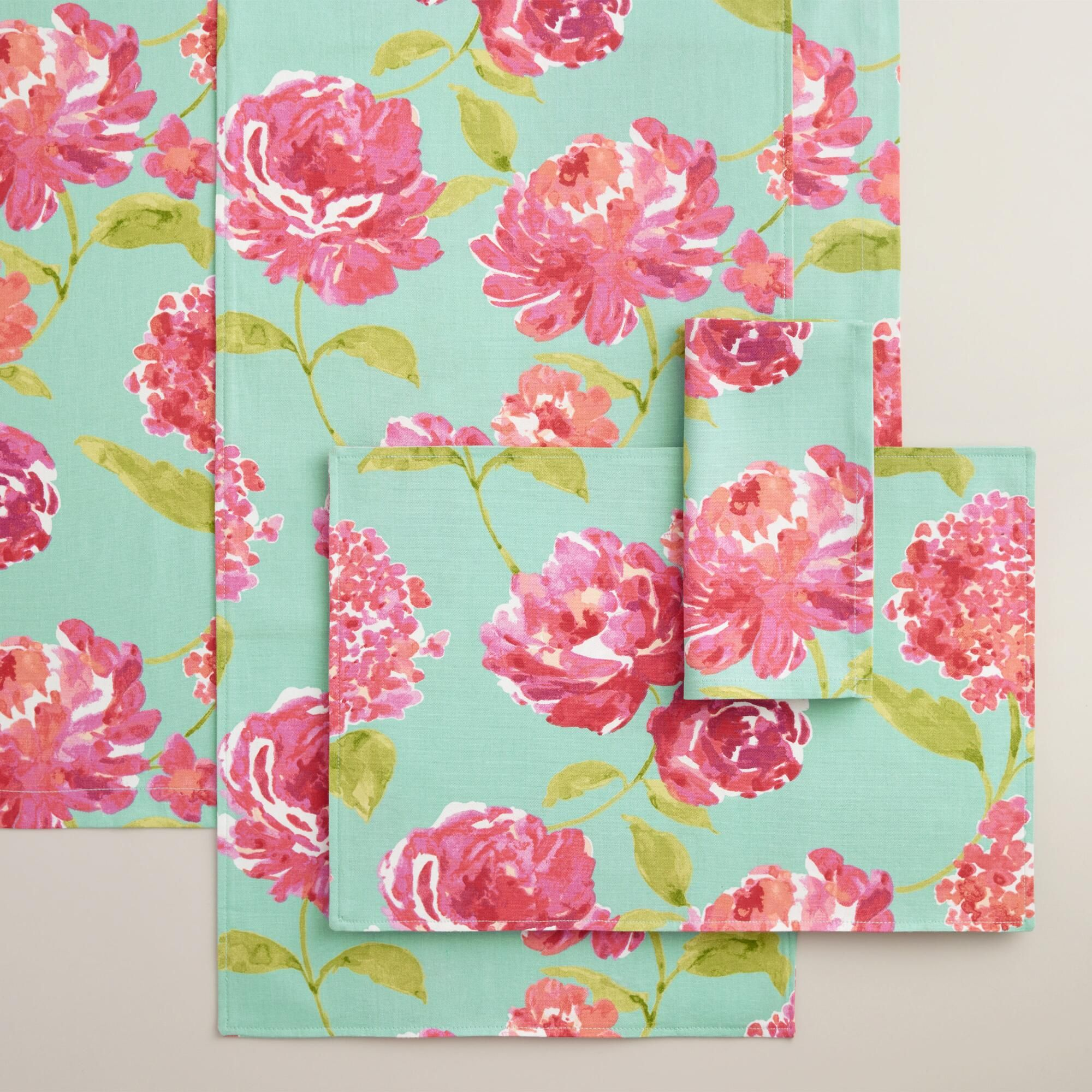Aqua and Pink Floral Blake Table Linen Collection