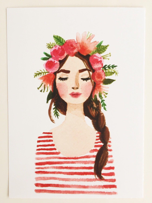 Print Of Flower Crown Girl Original Watercolor Painting Pink Lips