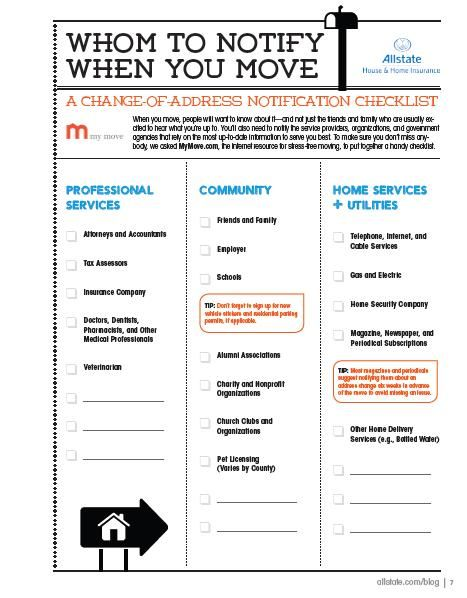 Moving Guide  Printable ChangeOfAddress Checklist  Change