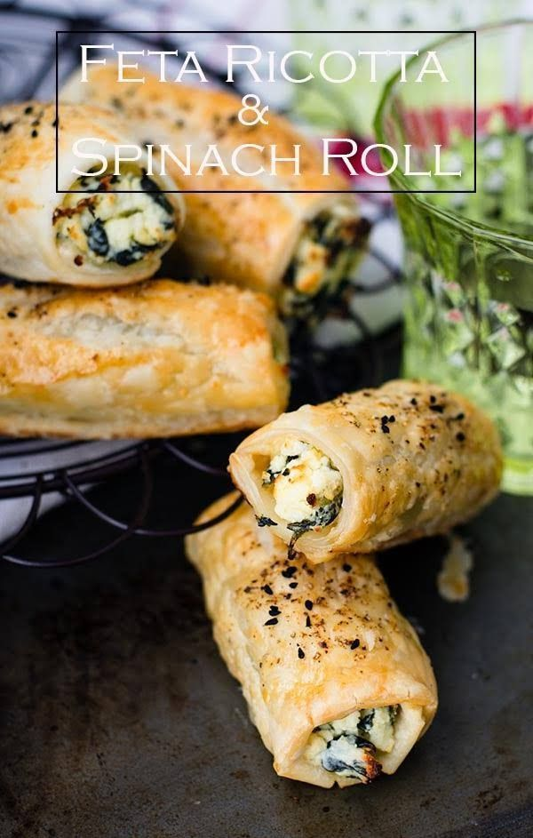 Feta Ricotta and Spinach Roll recipe. Easy to bake Feta Ricotta and Spinach rolls, made from puff pastry, frozen spinach and ricotta cheese. #vegetarian #fetarolls #ricottaspinachrolls #frozenpuffpastry