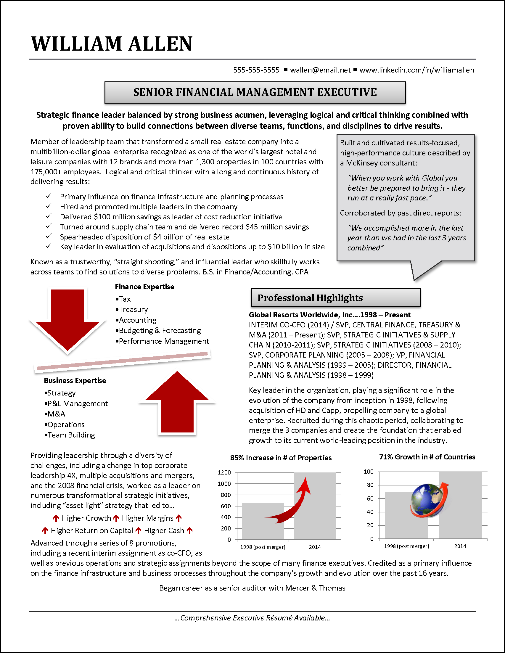 infographic resume example for financial executive resume