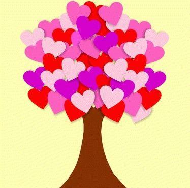 Árbol hecho a partir de hojas de colores marrones, rojas, rosas ...