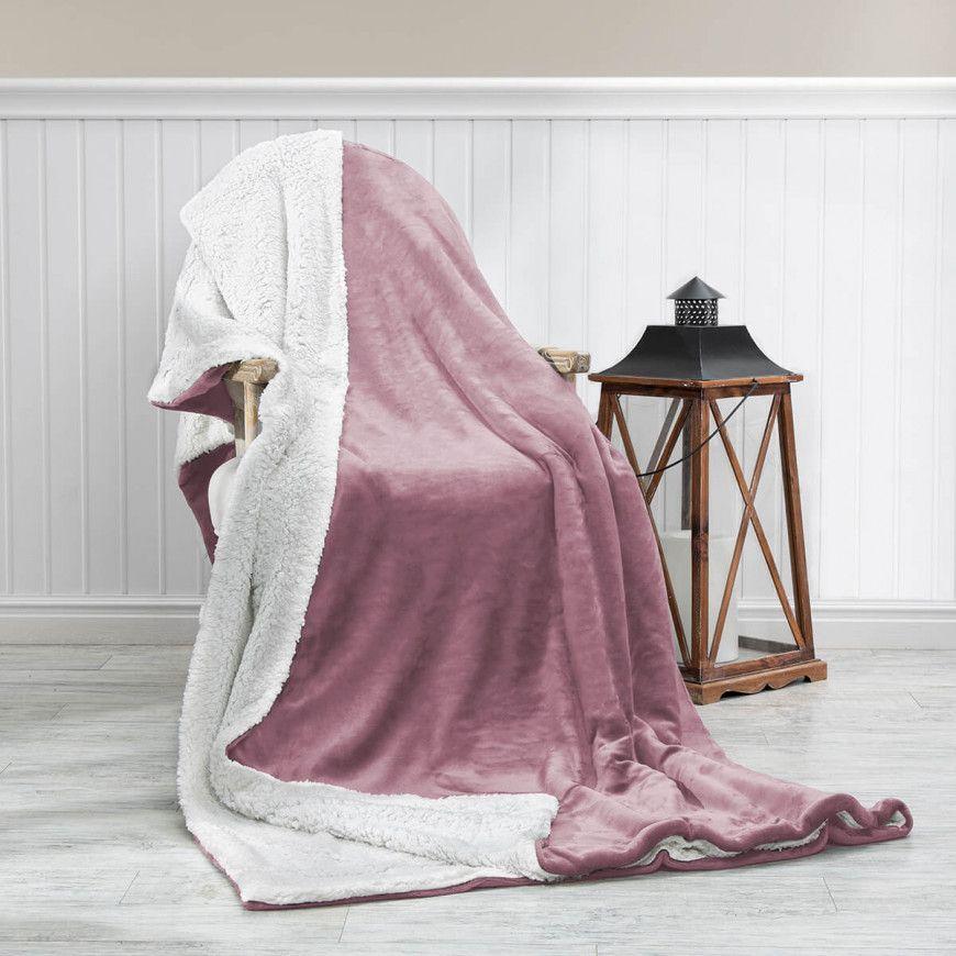 بطانية خفيفة مخمل وفرو مفرد ونص وردي 180 230 سم Blanket Throw Blanket Blue