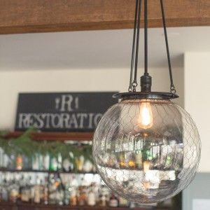 Hood Pendant with Wire Mesh   Rejuvenation   Clear Glass and ...