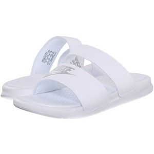 ab09204e81f8 Nike Benassi Duo Ultra Slide (White Metallic Silver) Women s Slide Shoes