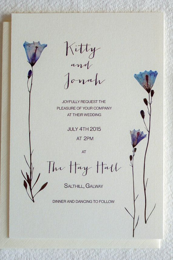 Luxe wedding invitation & RSVP with hand pressed bluebell design ...