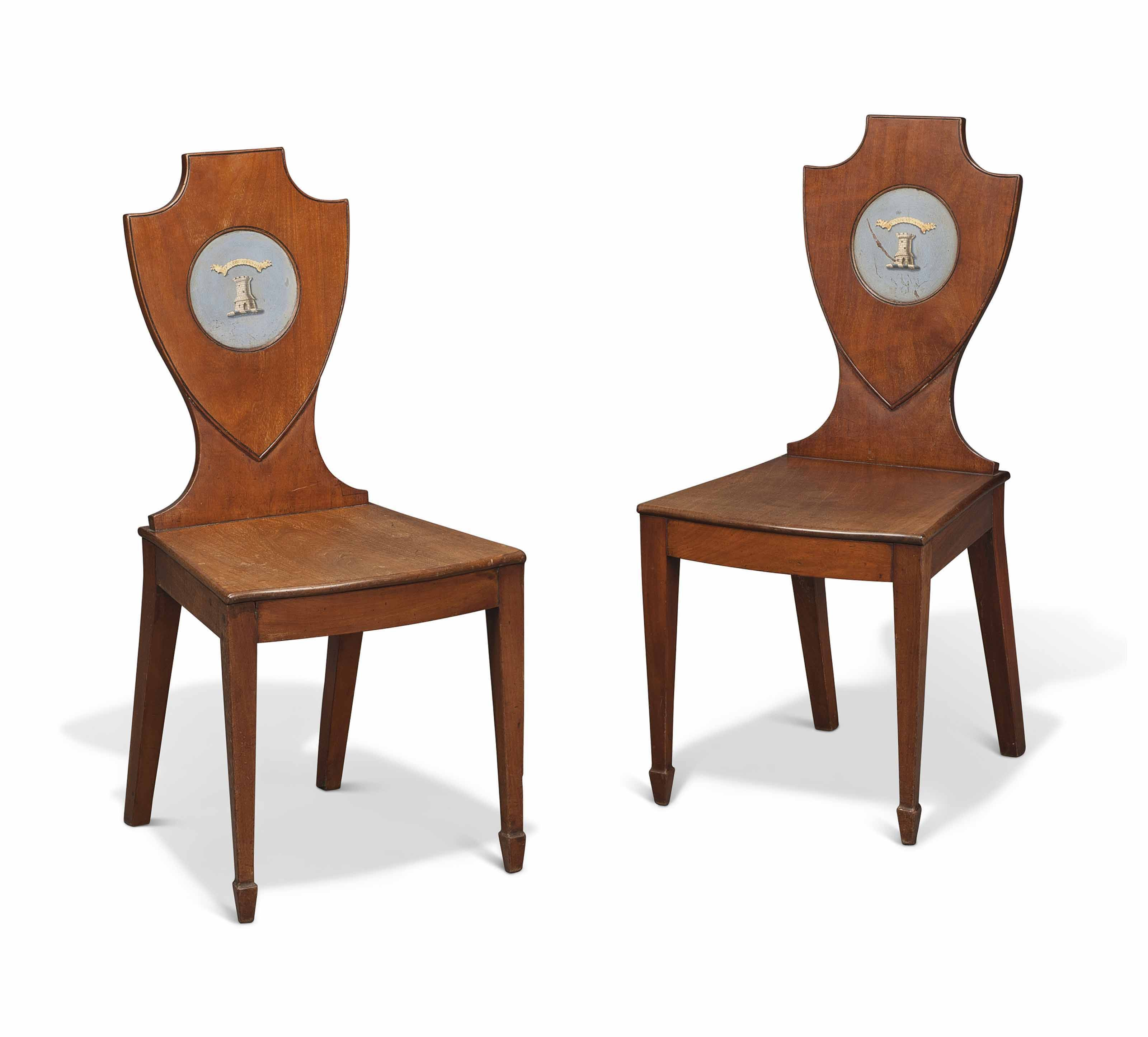 c1820 A PAIR OF REGENCY MAHOGANY AND POLYCHROMEDECORATED