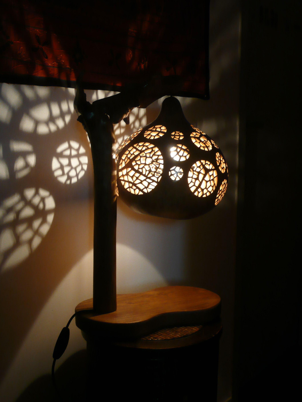 Lampe Calebasse Esprit Zen Sur Pied En Bois Flotte Lamppied Lamp