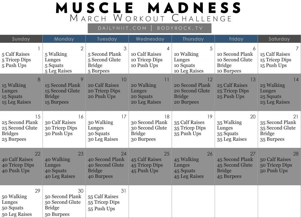 Muscle Madness March Workout Challenge Free Calendar Hiit Blog March Fitness Challenge March Workout Workout Challenge