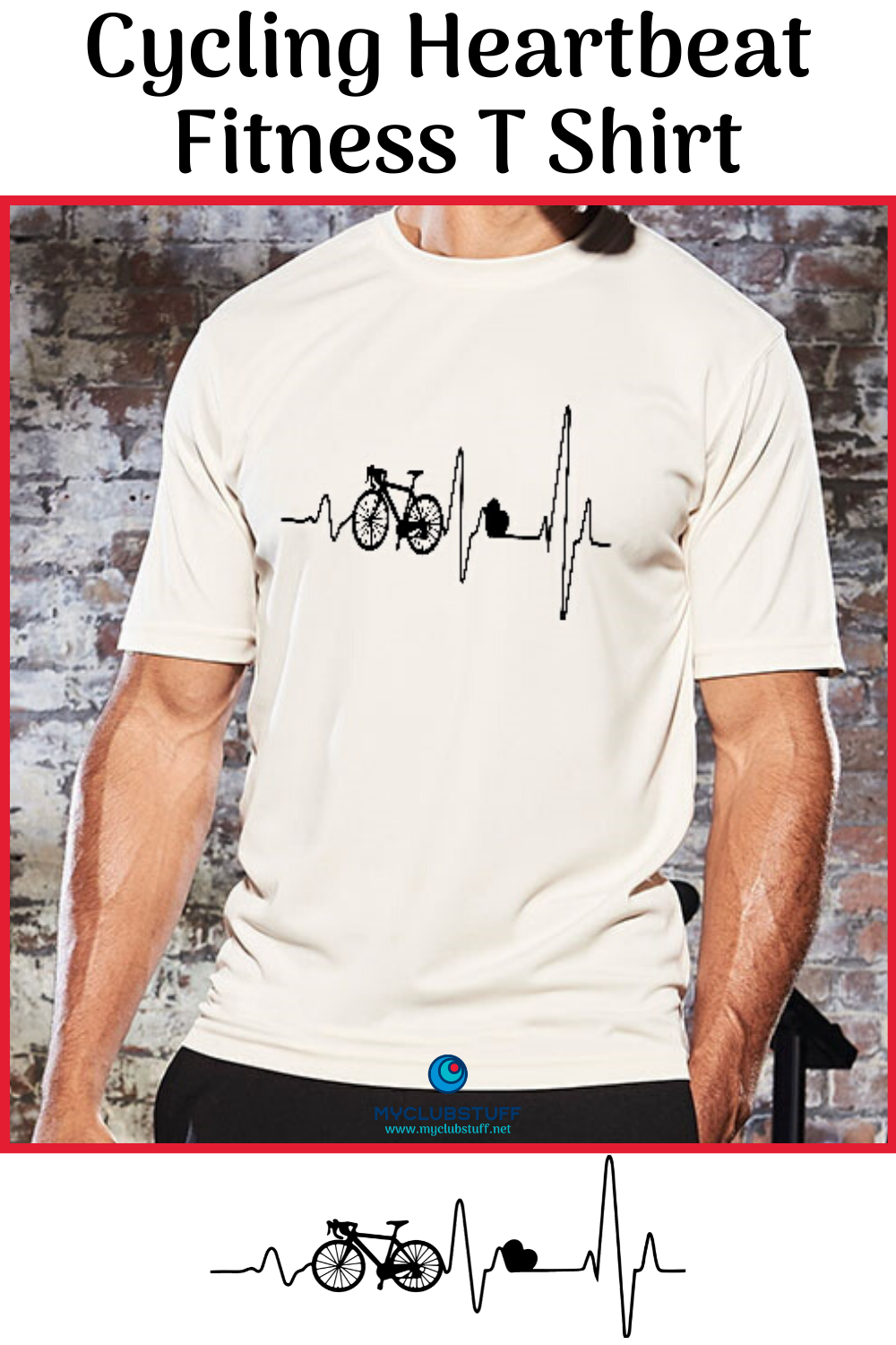 Smart active t-shirt with printed cycling heartbeat design from MyClubStuff - price £10  Made from a...