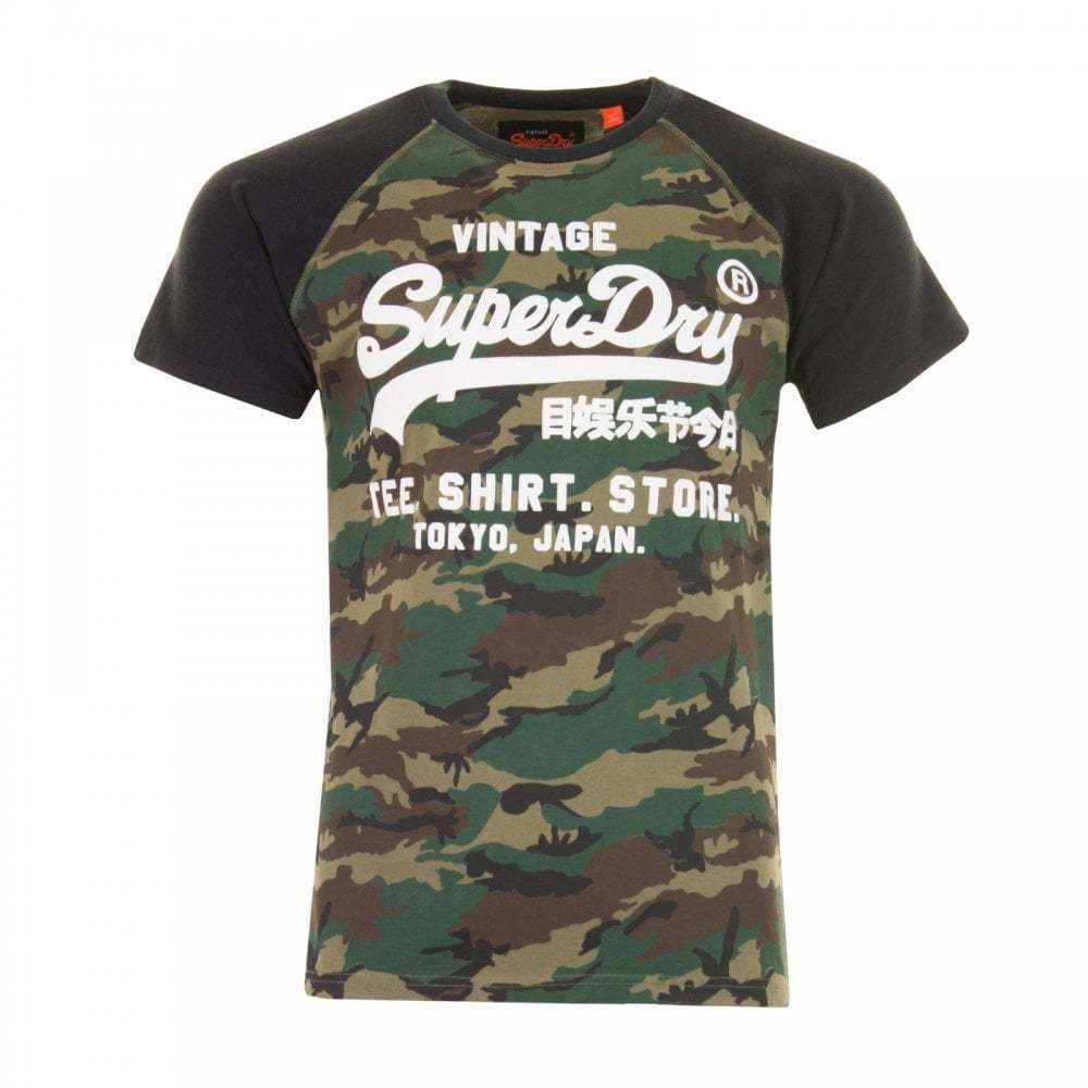 This Superdry Shirt Shop Camo Raglan T-Shirt is 100% cotton and has ... 6799ba00c