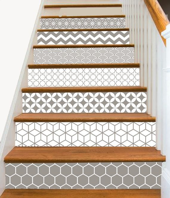 15steps stair riser vinyl strips removable sticker peel stick s001 geometrical taupe in 2018. Black Bedroom Furniture Sets. Home Design Ideas