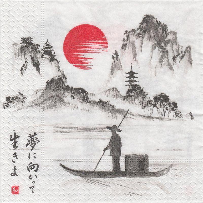 Paper Napkin Japanese Boat Japanese Ink Painting Japanese