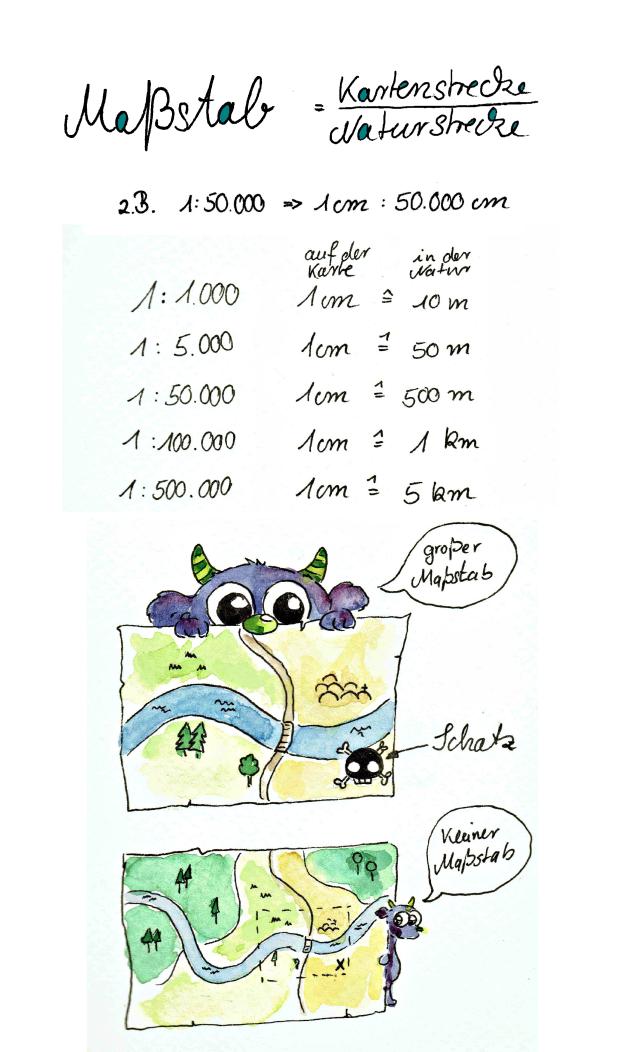 Geo Spickzettel 2 Karten Maßstab Gesche Santen Blog Math 5