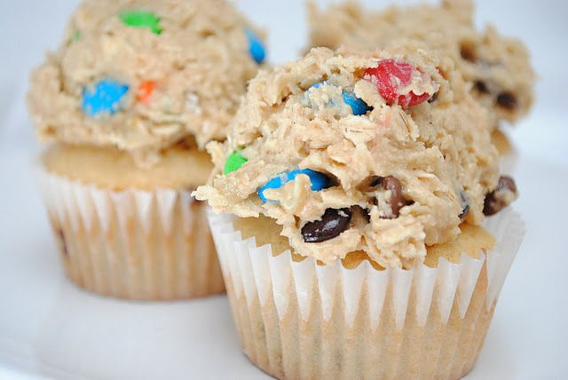 Peanut butter cupcakes with Monster Cookie Dough Frosting.