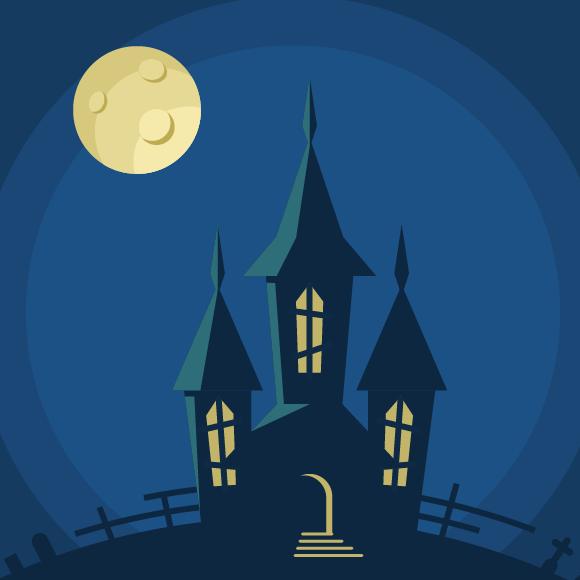 Create A Bootiful Haunted House Halloween Vector Background Vectips Halloween Vector Halloween Haunted Houses Haunted House