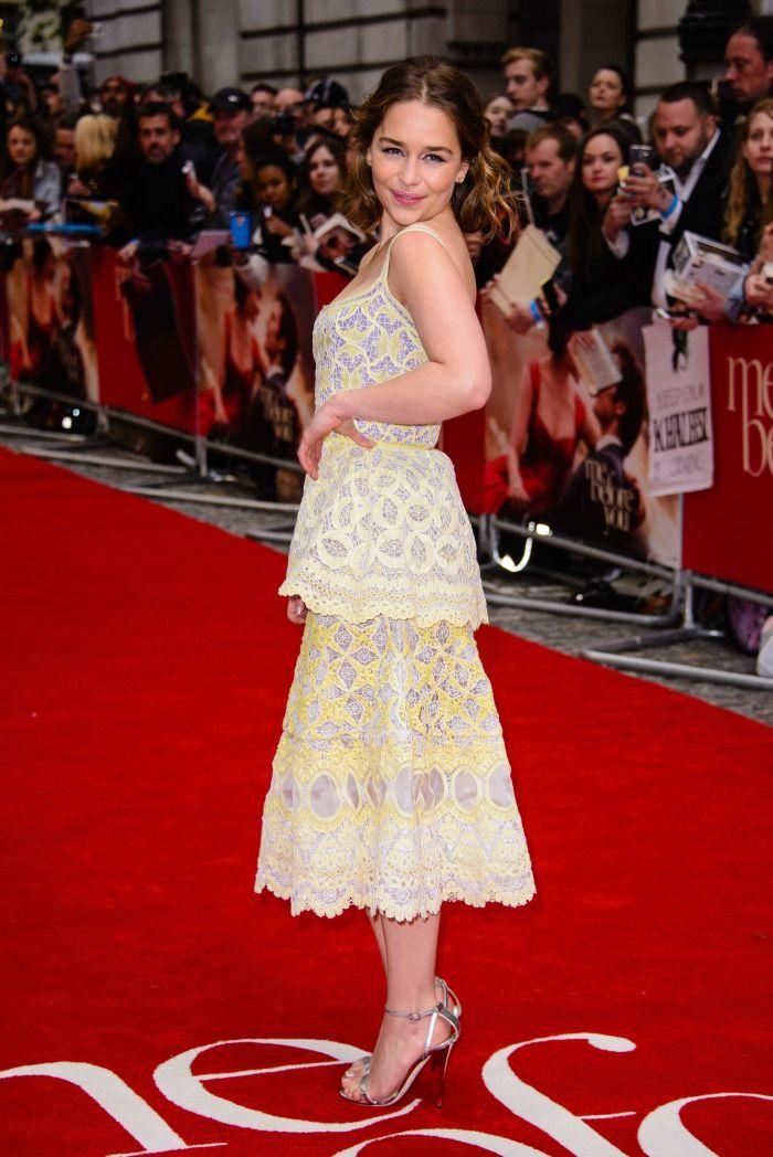 Emilia Clarke Stuns in Ruffled Dress and Silver Sandals ...