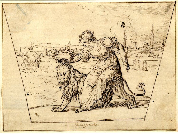 A Sixteenth Century Allegory Of Venice Drawn By Domenico Campagnola