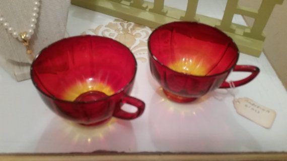 Amberina Tea Cups  Vintage 1950's Amberina by sistersvintageattic