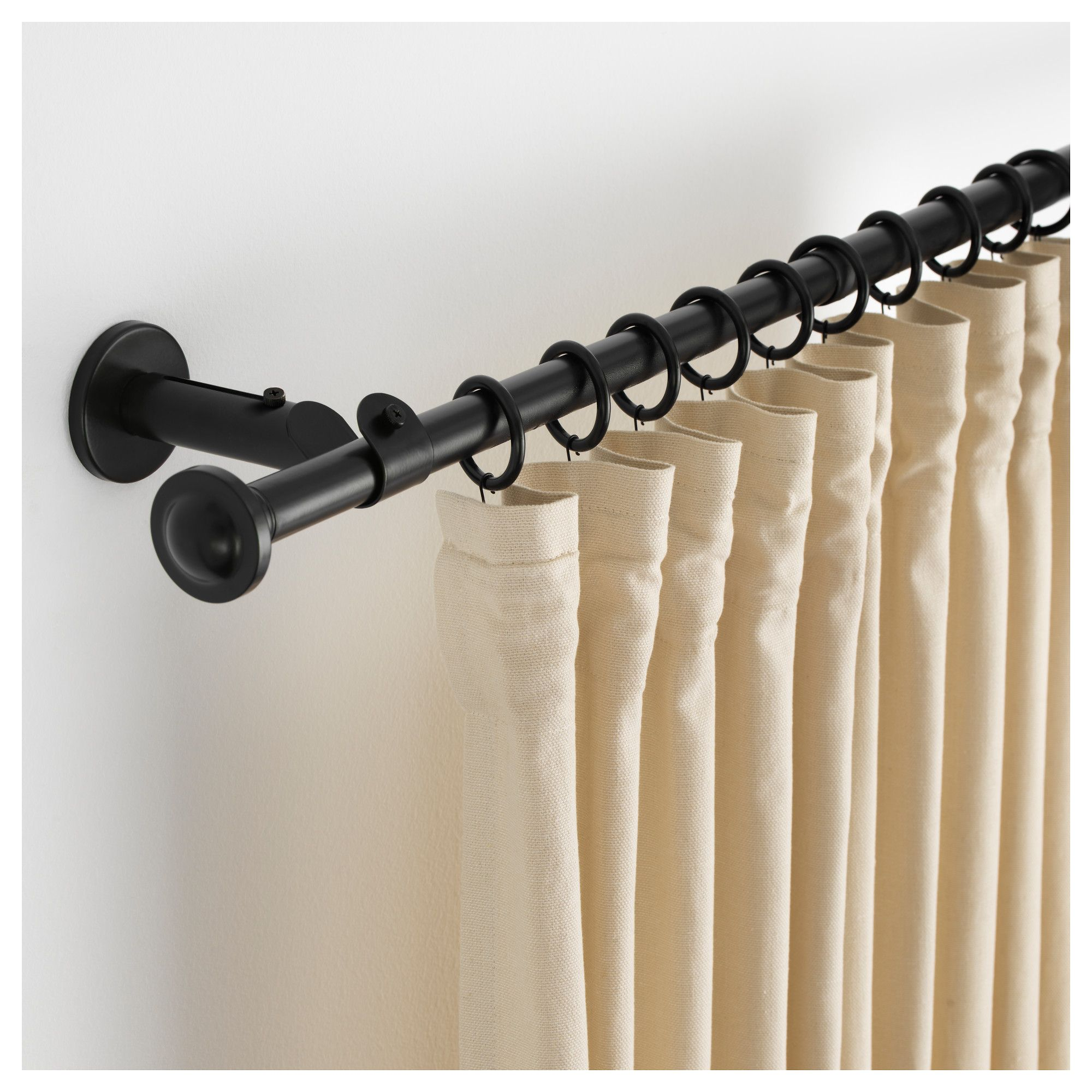 Storslagen Curtain Rod Set Black 47 1 4 82 5 8 Double Rod Curtains Black Curtain Rods Double Curtains