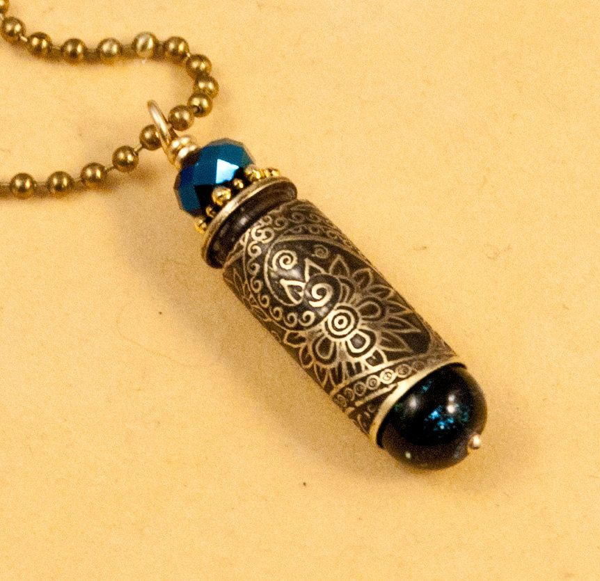 etched bullet pendant - Mystic Paisley - bullet casing jewelry. $27.00, via Etsy.