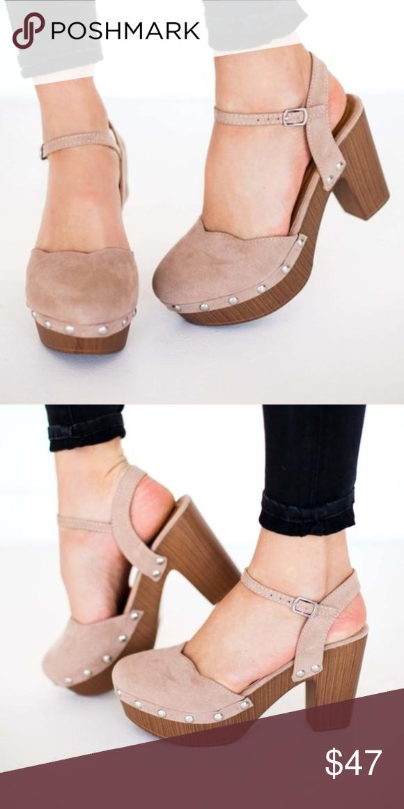 SIENNA Taupe Studded Platform Vegan Suede Heels Heel:3.75