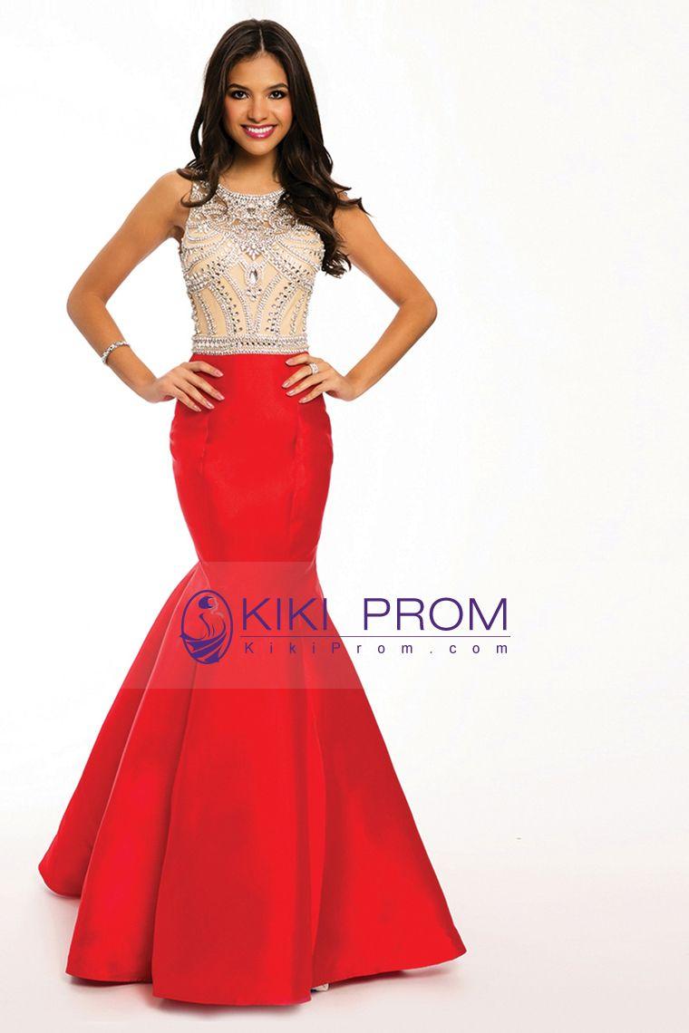 twotone bateau mermaid prom dresses beaded bodice satin and