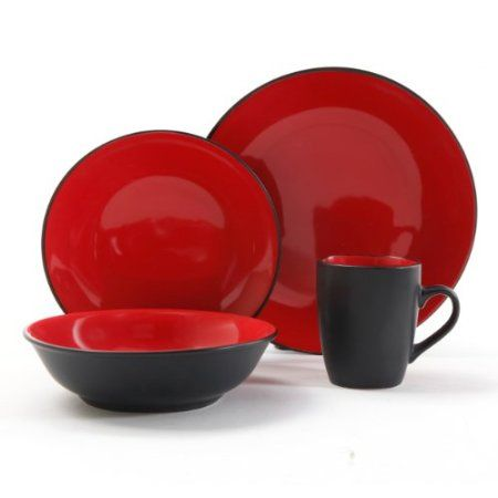 Gibson Vivendi 16 pc Dinnerware Set Red/Black Enjoy your dinner with this beautiful 16 pc Red/Black  sc 1 st  Pinterest & Amazon.com: Gibson Vivendi 2-Tone Dinnerware Set 16-Piece Red ...