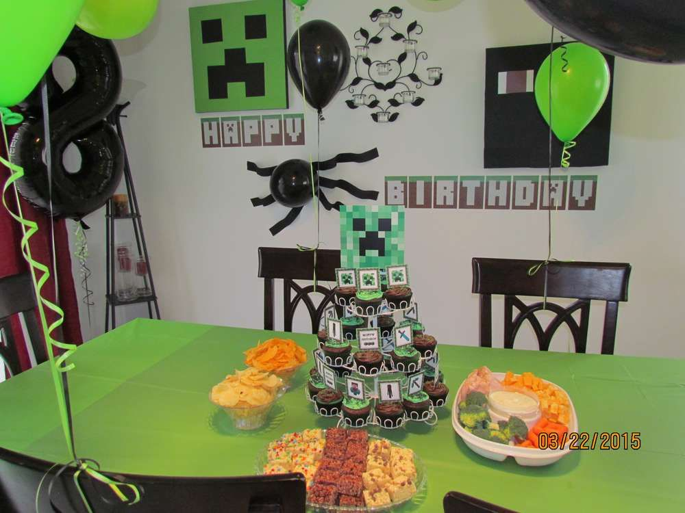 Minecraft birthday party! See more party planning ideas at CatchMyParty.com!