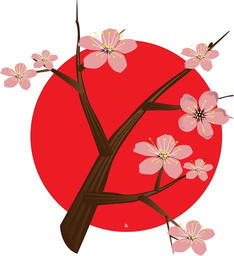 cherry blossom tree with japan flag my japanese heritage rh pinterest nz Cherry Blossom Tree Japanese Cherry Blossom Oil Painting