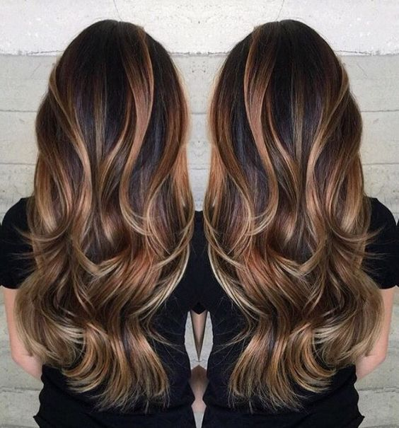 Flattering Caramel Highlights On Dark Brown Hair Long Brunette Hair Hair Styles Long Hair Styles
