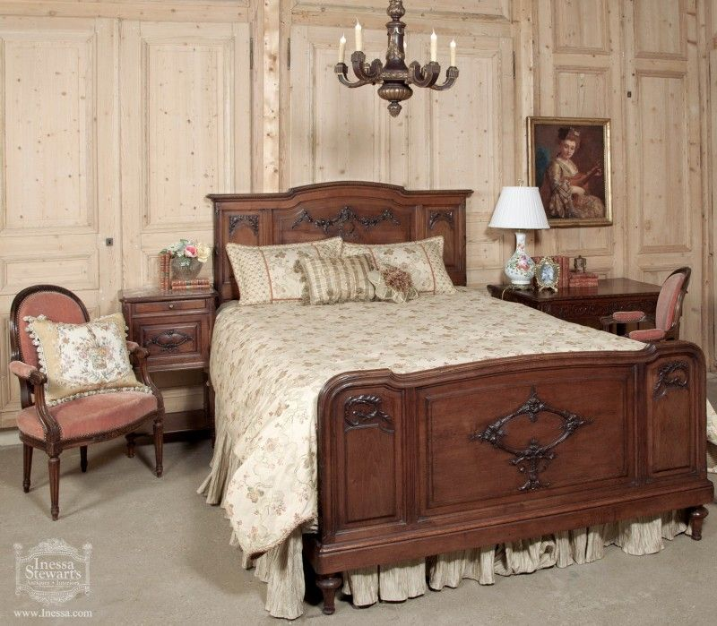 Antique Bedroom Furniture This Lovely Louis Xvi Queen Size Walnut Bed Was Made In France At The End Of 19th Century When Quality Craftsmanship