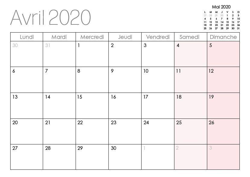 Avril Calendrier 2020 Gratuit Imprimable Des Notes | nosuvia.