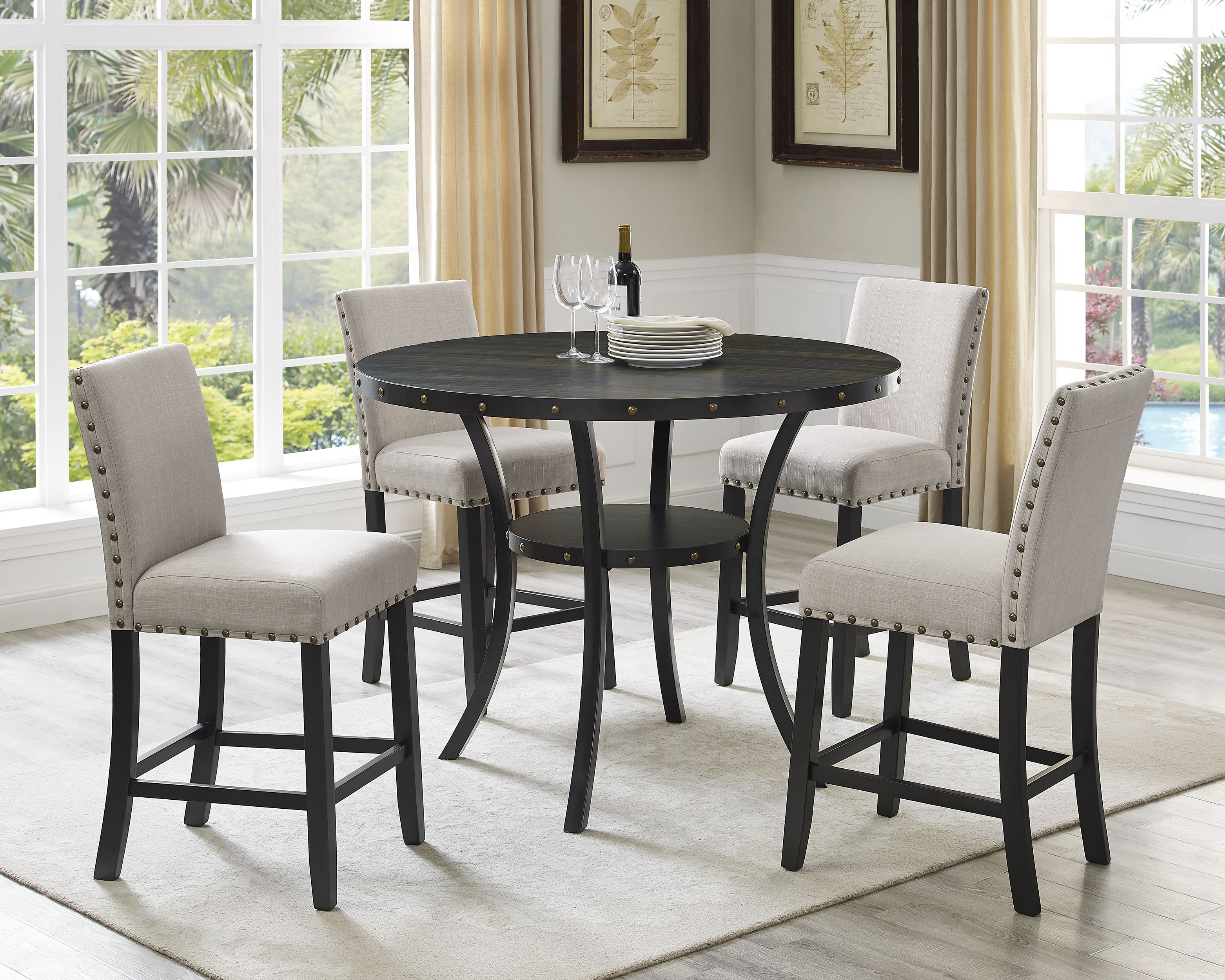 Indira 5 Piece Pub Set Table 4 Stools Beige Walmart Com Dining Room Sets Pub Table Sets Dining Table Setting