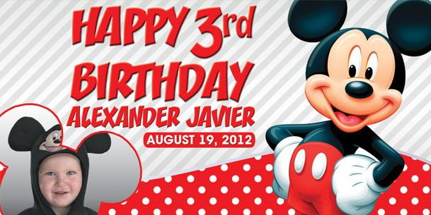 Birthday Tarpaulin Mickey Mouse Version 2 Theme Template JPG PSD PaoGraphics