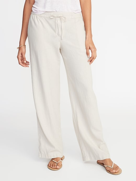 d662c792 Old Navy Women's Mid-Rise Wide-Leg Linen-Blend Pull-On Pants Feather ...